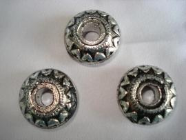 Metaallook kraal zilverkleur disc 24x10 mm