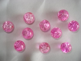 Glascrackle kraal rond 6 mm roze