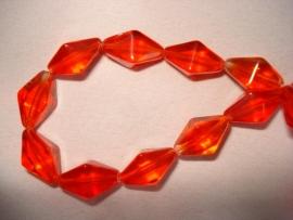 Facet glaskraal bicone langwerpig rood