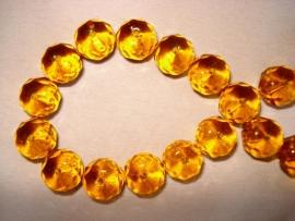 Facet glaskraal rondell 10x8 mm goudbruin