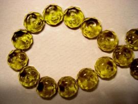 Facet glaskraal rondell 10x8 mm olijfgroen/grijs