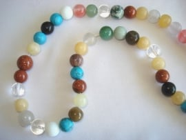 Streng kralen rond 8 mm glas en natuursteen