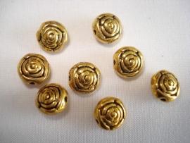 Metallook kraal goudkleur roosje 7x4 mm