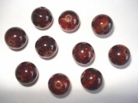 Glascrackle kraal rond 8 mm diep donkerbruin