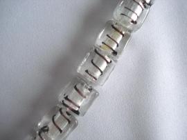 Zilverfolie glaskraal blokje gestreept wit
