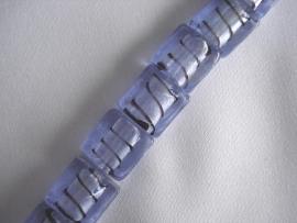 Zilverfolie glaskraal blokje gestreept blauw