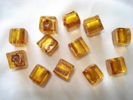 Zilverfolie glaskraal kubus 10mm goudbruin