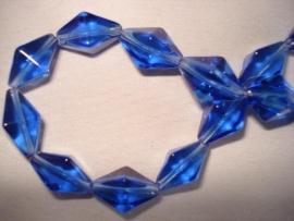 Facet glaskraal bicone langwerpig kobaltblauw