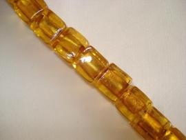 Streng zilverfolie glaskralen kubus 10 mm goudbruin (12 stuks)