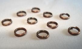 Dubbele ringetjes koperkleur 5 mm 10 stuks