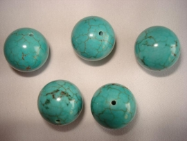 Howliet kraal rond 16 mm turquoise