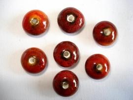 Keramiek kraal disc 12x7 mm terra rood met spikkels