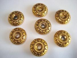 Metallook kraal schijfje goudkleur bewerkt 18x7 mm