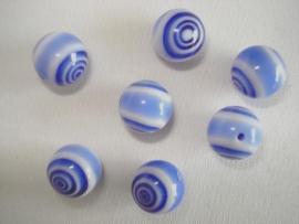 Millefiori glaskraal rond 8 mm blauw