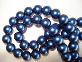 Matte glasparel rond 8 mm donkerblauw