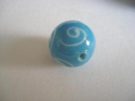 Glaskraal kringen lichtblauw met wit