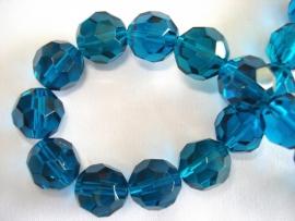 Facet glaskraal rond 12 mm donker petrol blauw glans