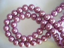 Matte glasparel rond 8 mm violet lila