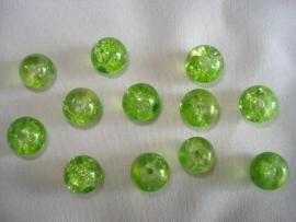 Glascrackle kraal rond 8 mm limegroen