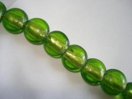 Streng zilverfolie glaskralen plat rond limegroen (12 stuks)