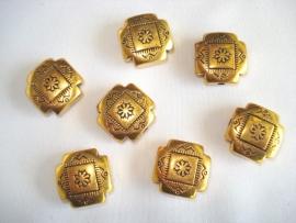 Metallook kraal goudkleur kruis 16x16 mm