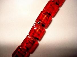 Zilverfolie glaskraal blokje gestreept rood