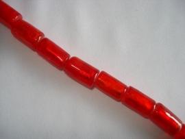 Streng zilverfolie glaskralen buis 15x10 mm rood (12 stuks)