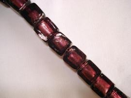 Streng zilverfolie glaskralen kubus 12 mm paars (12 stuks)