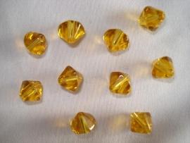 Facet glaskraal bicone 8 mm goudbruin