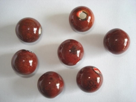 Keramiek kraal rond 19 mm terra rood met spikkels