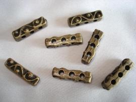 Metalen verdeler bronskleur met 3 gaten 18x5 mm