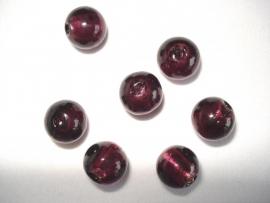 Zilverfolie glaskraal rond 10 mm paars