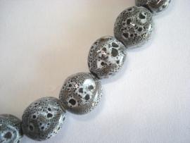 Streng porseleinen kralen grijs gespikkeld bol hoekig