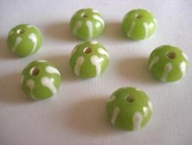 Glaskraal streep lime met wit
