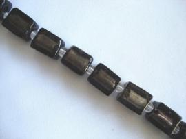 Streng zilverfolie glaskralen blokje zwart