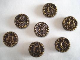Metaallook kraal bronskleur plat rond 14x5 mm