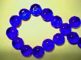Facet glaskraal rondell 10x8 mm donker kobalt blauw