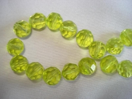 Facet glaskraal rond 6 mm lime groen