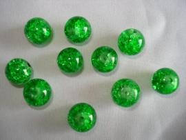 Glascrackle kraal rond 10 mm felgroen