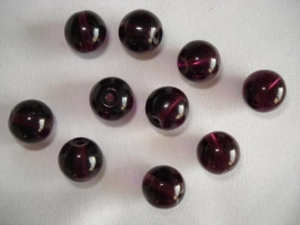 Glaskraal rond 10 mm donkerpaars