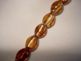 Zilverfolie glaskraal ovaal 12x9 mm bruin