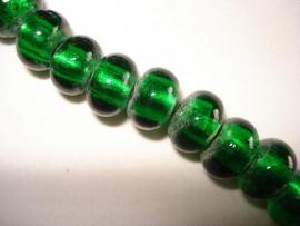 Streng zilverfolie glaskralen rondell donkergroen (12 stuks)