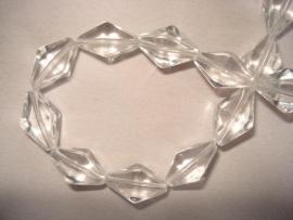 Facet glaskraal bicone langwerpig transparant