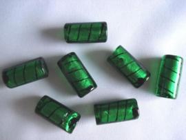 Zilverfolie glaskraal buis gestreept groen