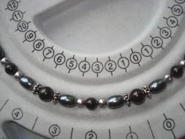 Zelfmaakpakket elastisch armbandje rijgen zwart, grijs en zilver