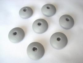 Houten kraal 20x12 mm disc lichtgrijs