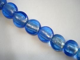 Streng zilverfolie glaskralen plat rond blauw (12 stuks)