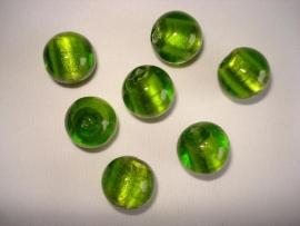 Zilverfolie glaskraal rond 16 mm limegroen