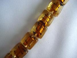 Zilverfolie glaskraal blokje gestreept goudbruin