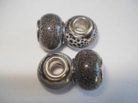 Pandora style kraal keramiek grijs gespikkeld